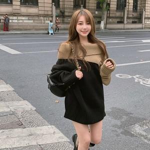 【トップス】超人気ファッション透かし彫りボートネック配色プルオーバーニットセーター35173965