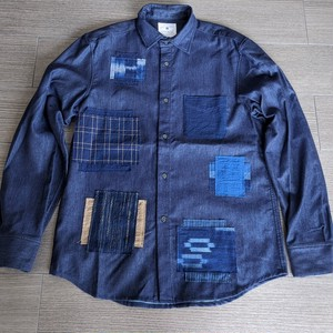 9着限定<OSOCU×HandWorks>備後節織 パッチワークデザイン レギュラーカラー シャツ 「解」 日本製