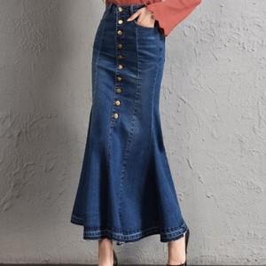 【ボトムス】ファッションレディースボタン付きデニムスカート18933039