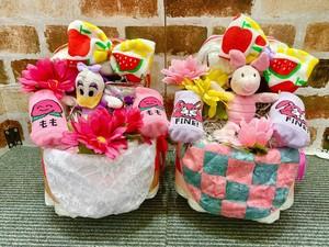 おむつケーキ/オムツケーキ/おむつベビーカー/ANAP/アナップ/出産祝い/誕生祝い/お祝い/ディズニー/デイジー/ピグレット/Rady/レディ/キティ/マイメロ/おむつバイク/ベビーギフト/ベビーシャワー