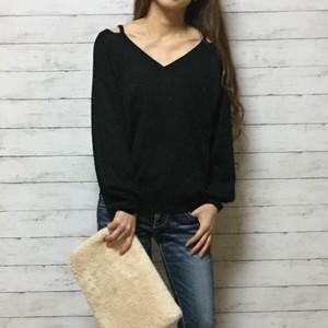 open shoulder ニット セーター(black)