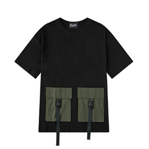 メンズ半袖Tシャツコットン素材。ユニセックスOkダブルポケットミリタリーアイテム