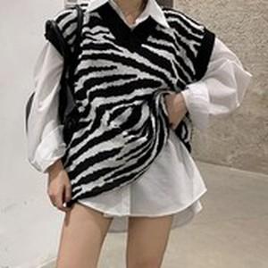 【セット】「単品注文」シンプル長袖シングルブレストPOLOネックロングシャツ+ベスト34307732