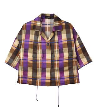 【安西こずえコラボ】-Sophie- ショート丈スポーティー半袖シャツジャケット(パープル)