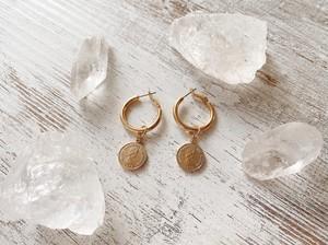 Coin Motif Gold Earring