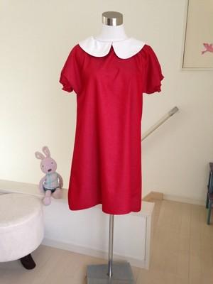 【Italian Red(イタリアンレッド)白襟タイプ】きれいなカラーデニムのAライン丸襟ワンピース 半袖