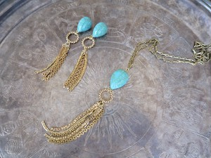 vintage necklace turquoise and fringe <NC-TQFR>