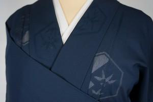 未使用【夏】紋紗 色無地 正絹 一つ紋 紺 濃藍色 244