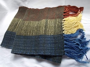 アルパカ100%手織りマフラー水色オレンジ黄色