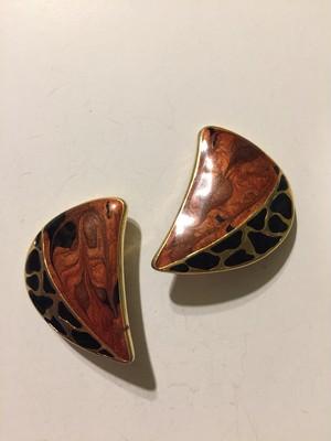 Vintage animal × brown × gold earrings ( ヴィンテージ  アニマル柄 ブラウン × ゴールド イヤリング )