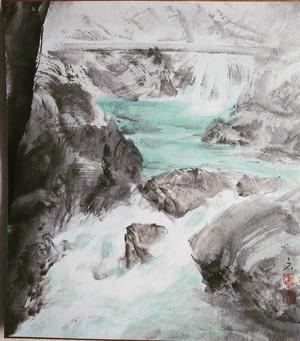 水墨画 色紙「 渓流 」mountain stream