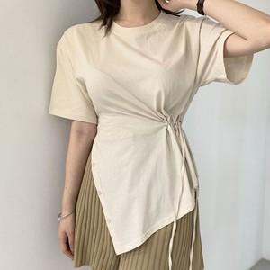 【トップス】個性的なデザイン シンプル 無地 プルオーバー スリット ボウタイ 半袖 Tシャツ42940380