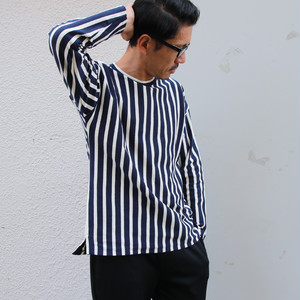 BSQ Stripe Long Sleeve T-shrts Navy×Kinari