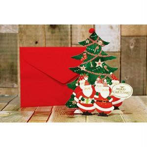 クリスマスメッセージカード(ツリー&サンタクロース)/クリスマス雑貨/浜松雑貨屋 C0pernicus