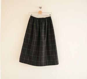 【限定2】* ラプセニ * 秋冬 ウール混のチェックのスカート ダークグレー
