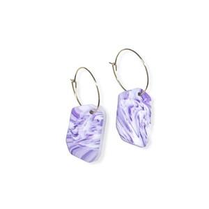 【ポリマークレイ ピアス】 HP1050 - Purple Marble