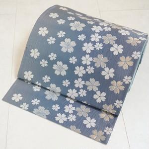 優美な桜 袋帯 銀糸 スカイブルー 青 245