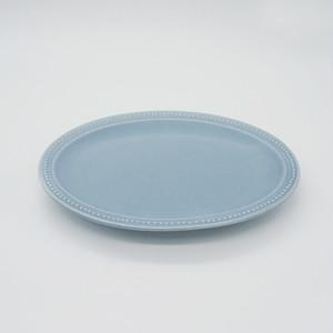 パンとごはんと... (Bread and Rice) RIM DOTS OVAL PLATE (リムドット オーバルプレート) Sサイズ 【ブルーグレー】