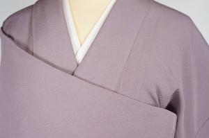 未使用 色無地 紋なし 正絹 ちりめん 鳩羽色 紫 508