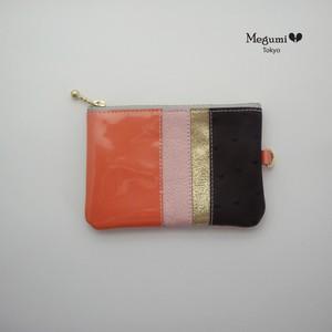 コインケース、名刺ケース付き(オレンジ×紫)