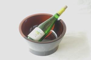 山中塗 木質(もくしつ) ワインクーラー 塗り分け  黒赤