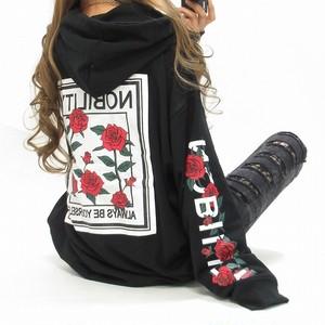 袖ローズ&ロゴ 背中ワッペンロゴ BIGパーカー オーバサイズ ブラック