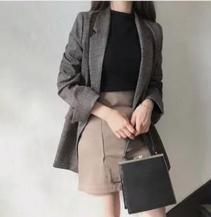 woman check jacket 2color