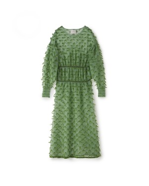 MOHAIR FRINGE ONEPIECE[GREEN]