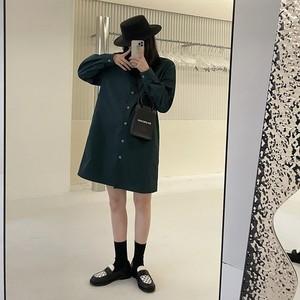 背中締めカラーシャツワンピ LUM9519