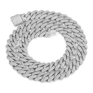 s925 Iced Out Prong Chain Necklace