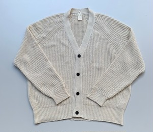 O project LINEN MIX YARN KNITTED CARDIGAN NATURAL