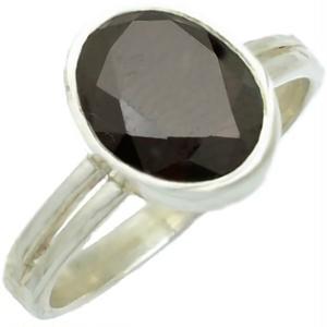 オーバルブラックジルコニア  シルバー プレーンリング(指輪)*R-1018BZ
