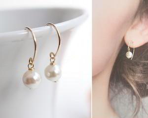 あこや真珠の一粒パールピアス(14金ゴールドフィル金具)