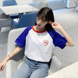 【トップス】韓国系スウィートキュート切り替え配色合わせやすい半袖Tシャツ