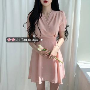 【ワンピース】韓流ファッションchicVネック収束着やせ見えワンピース