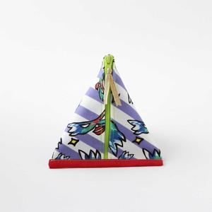 三角ポーチ【女王様柄+ボーダー】内側ブルー