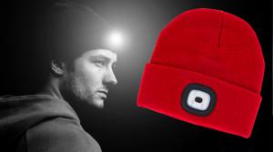 【NIGHT SCOUT】LED付き ヘッドライト フリーサイズ【充電式LEDビーニー】 キャンプ アウトドア 夜間作業 帽子 防寒 ニット帽