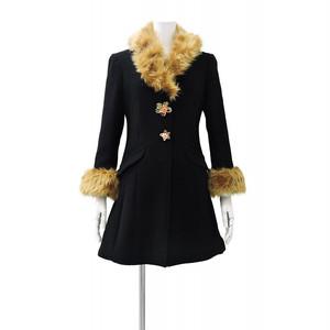 Black Gold Wool Women's Coat 黒 ゴールド レディース ウール コート KQBC1217