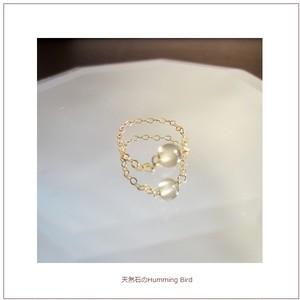 【受注生産】天然石の14KGF Chain Ring 極上の華奢な輝きを指先に放つグレームーンストーン