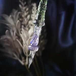 シンプルなガラスペン ほのかなグリーンとピンク【試作品】2020222-2