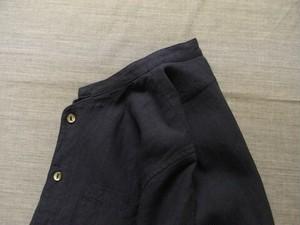belgium-farmers linen h/s linen shirt / frenchnavy