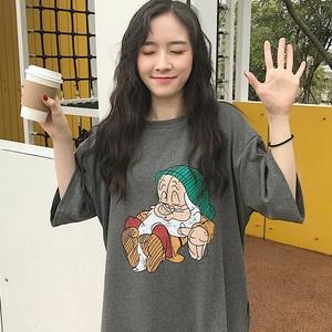 【トップス】レトロルーズカートゥーンラウンドネックTシャツ