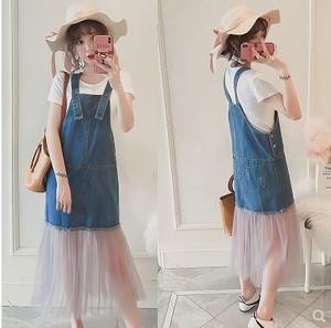 大きいサイズ レディース  裾シフォンデニムサロペットスカート 春夏