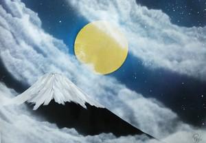 『パール富士』日本の神秘的な夜。