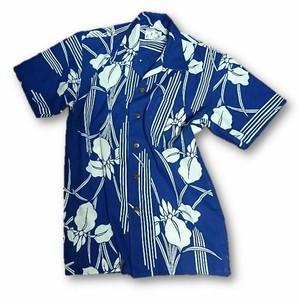 8 メンズ菖蒲柄浴衣リメイクアロハシャツ(XS)