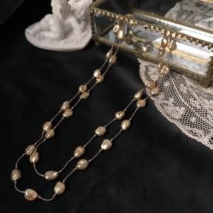 KIT 淡水パールのネックレス(グリフィン糸)ゴールド