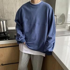 メンズ 長袖 Tシャツ 韓国系 肩落ち シンプル 重ね着風 送料無料