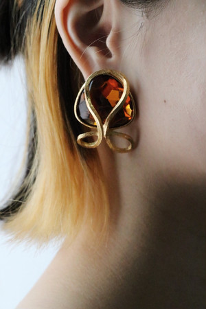 60's dead stock orange bijou earrings