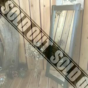 ≫セルコン*シンプルウッドフレームウォールミラー*古い木枠壁掛け鏡*大きいH86×W32cm大型*カントリーレトロ姿見ヴィンテージアンティーク