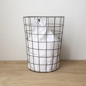 ランドリーバッグ付きワイヤーバスケット|Wire Basket w/Plain Laundry Bag(PUEBCO)